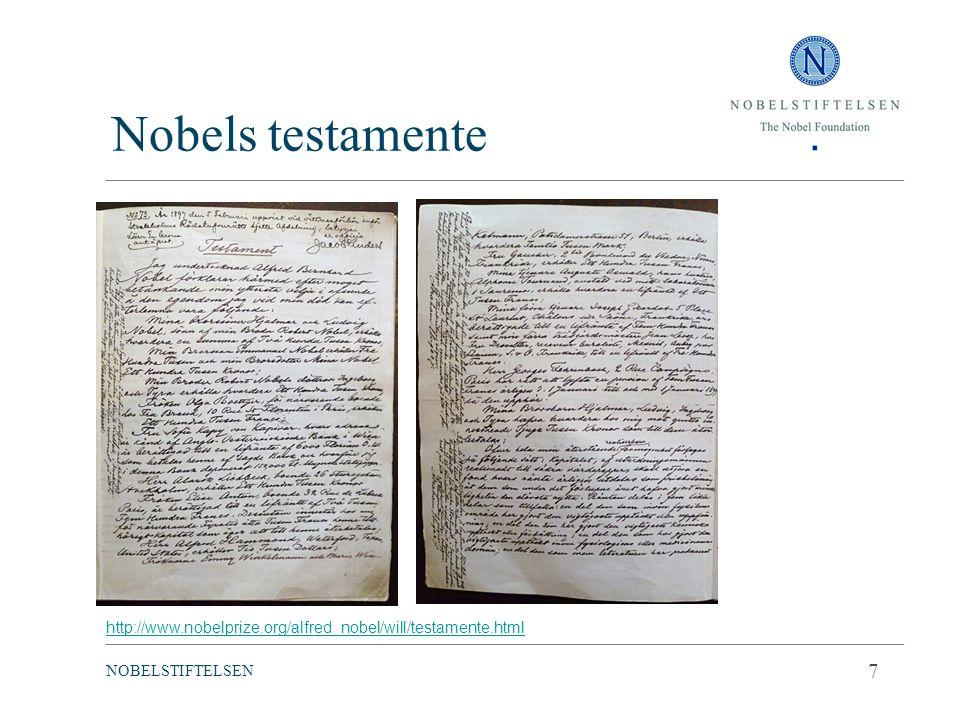 Nobels testamente 7 Läsbart, stipulerar vem som ska få pris och