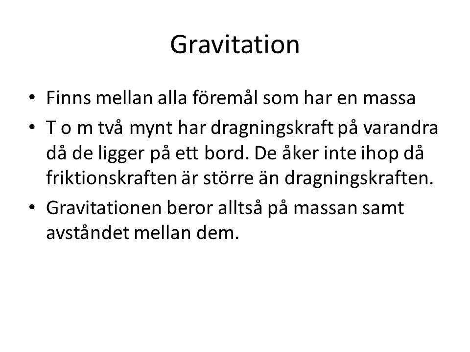 Gravitation Finns mellan alla föremål som har en massa