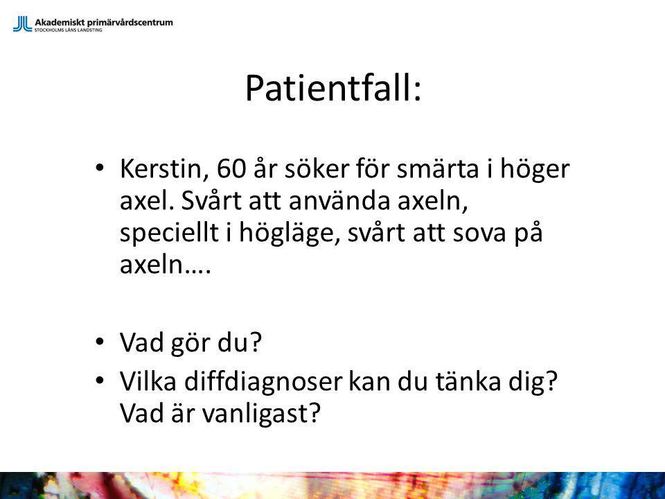 Patientfall: Kerstin, 60 år söker för smärta i höger axel. Svårt att använda axeln, speciellt i högläge, svårt att sova på axeln….