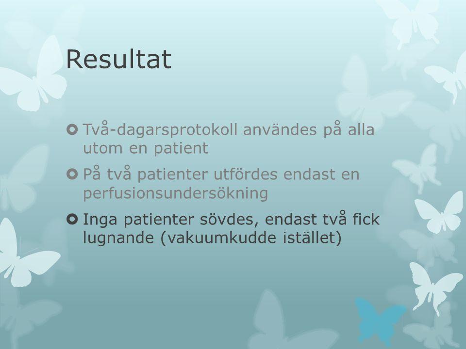 Resultat Två-dagarsprotokoll användes på alla utom en patient