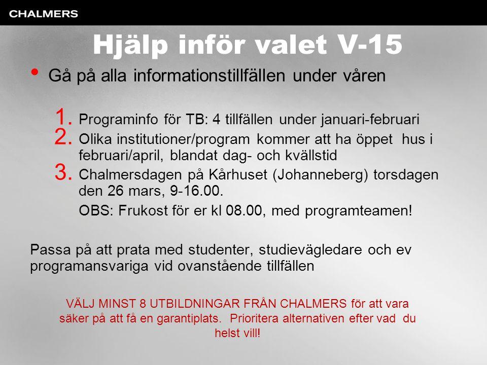 Hjälp inför valet V-15 Gå på alla informationstillfällen under våren