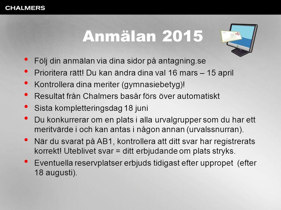 Anmälan 2015 Följ din anmälan via dina sidor på antagning.se