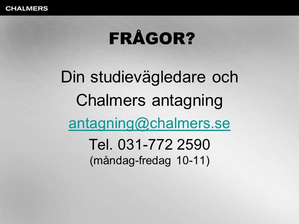 Din studievägledare och Chalmers antagning
