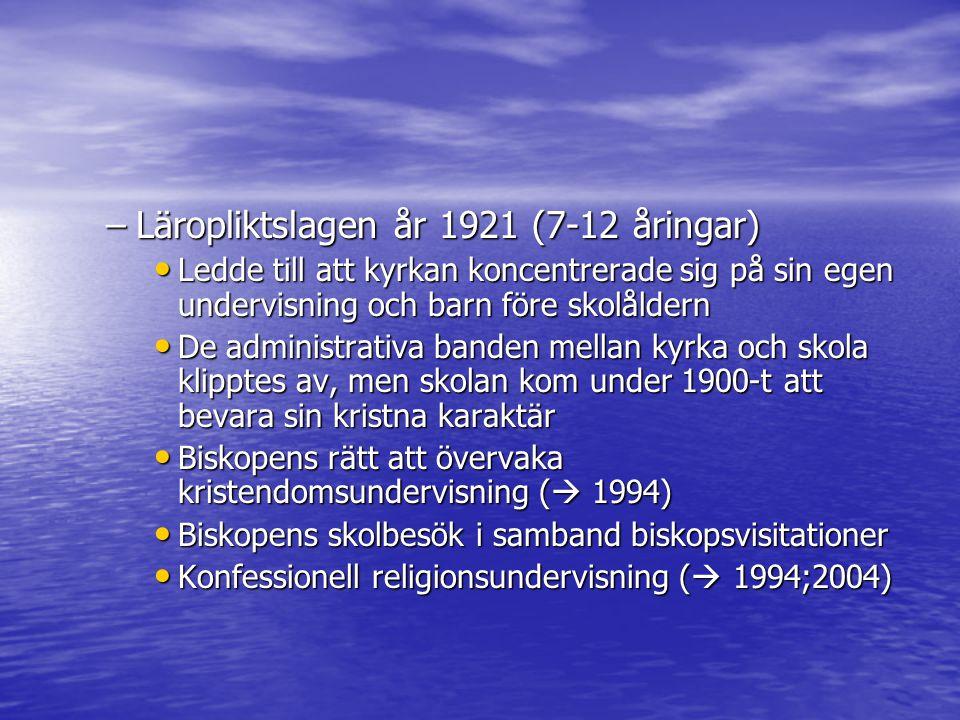 Läropliktslagen år 1921 (7-12 åringar)