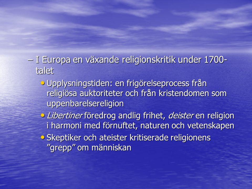 I Europa en växande religionskritik under 1700-talet