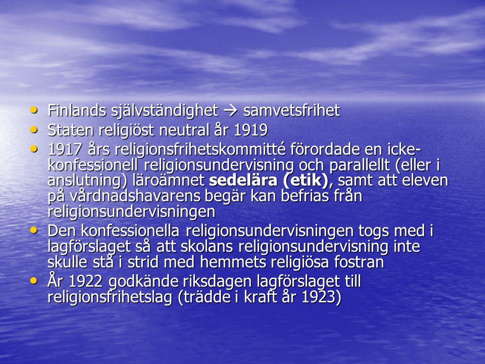 Finlands självständighet  samvetsfrihet