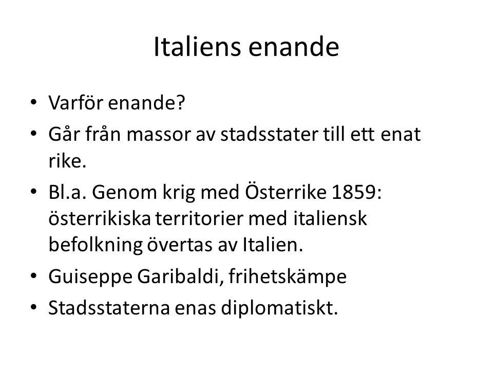 Italiens enande Varför enande
