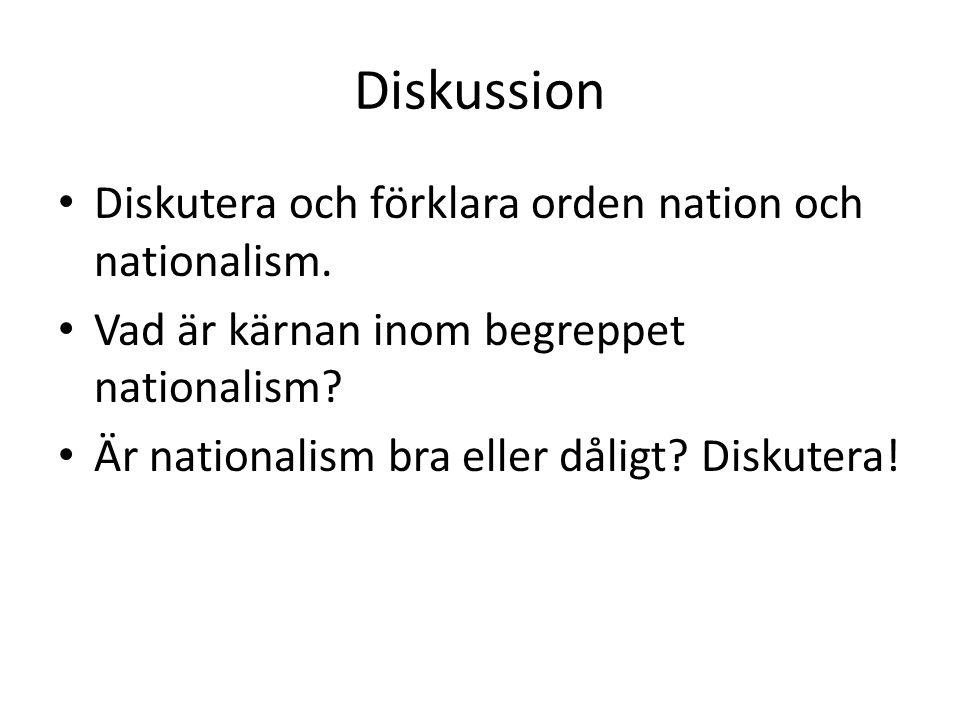 Diskussion Diskutera och förklara orden nation och nationalism.