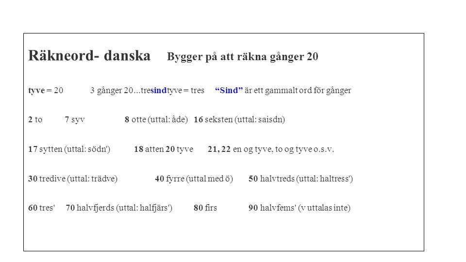 Räkneord- danska Bygger på att räkna gånger 20