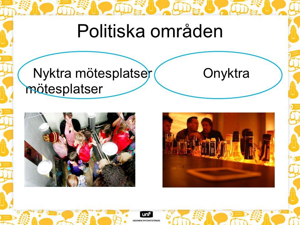 Politiska områden Nyktra mötesplatser Onyktra mötesplatser
