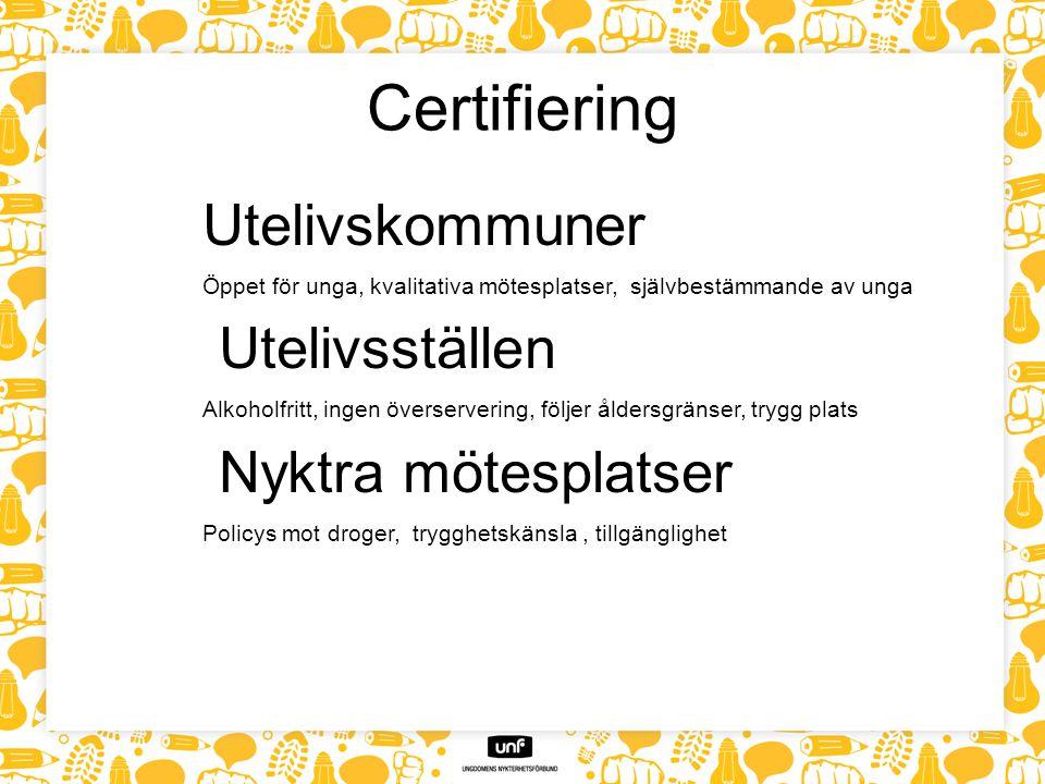 Certifiering Utelivskommuner Utelivsställen Nyktra mötesplatser