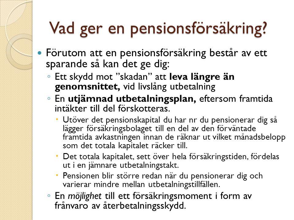 Vad ger en pensionsförsäkring