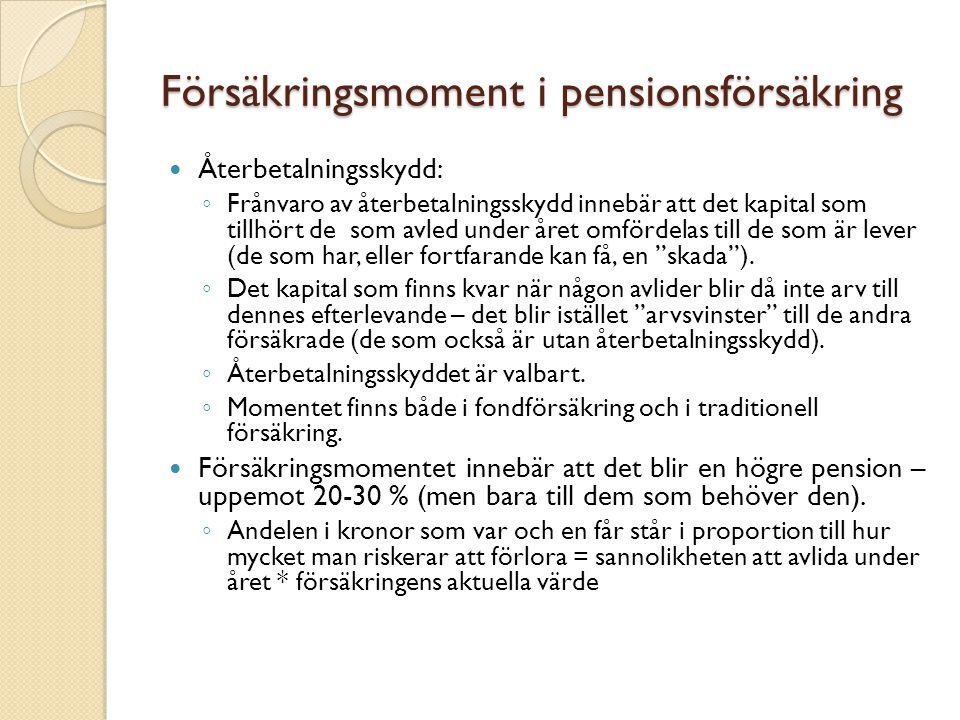 Försäkringsmoment i pensionsförsäkring