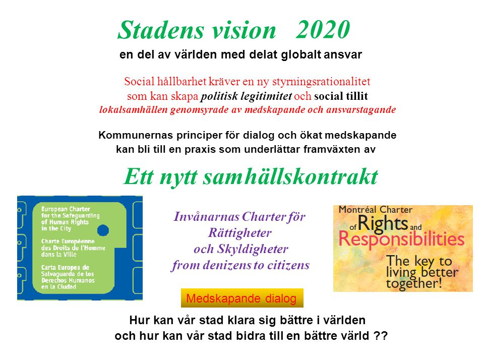 Stadens vision 2020 Ett nytt samhällskontrakt Invånarnas Charter för