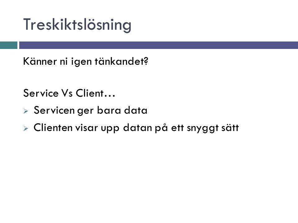 Treskiktslösning Känner ni igen tänkandet Service Vs Client…