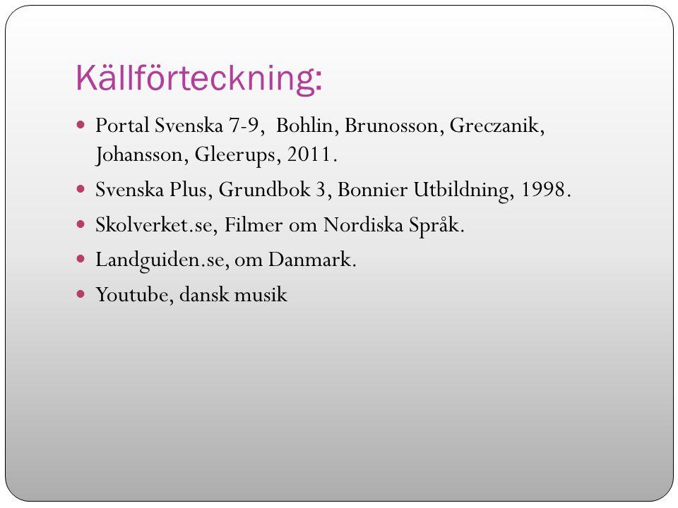 Källförteckning: Portal Svenska 7-9, Bohlin, Brunosson, Greczanik, Johansson, Gleerups, 2011. Svenska Plus, Grundbok 3, Bonnier Utbildning, 1998.