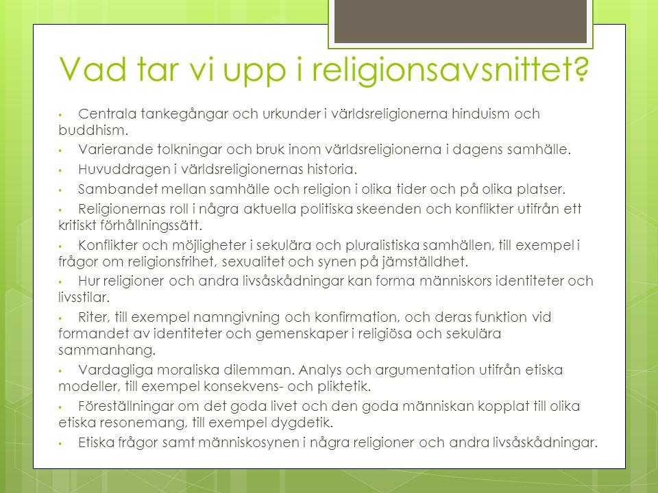 Vad tar vi upp i religionsavsnittet
