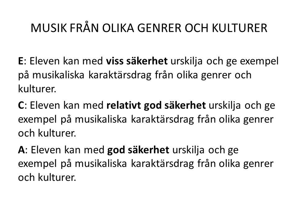 MUSIK FRÅN OLIKA GENRER OCH KULTURER