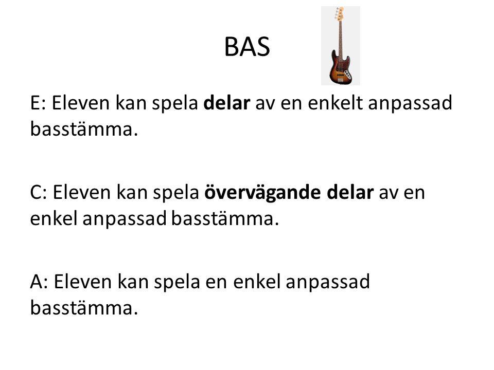 BAS E: Eleven kan spela delar av en enkelt anpassad basstämma.