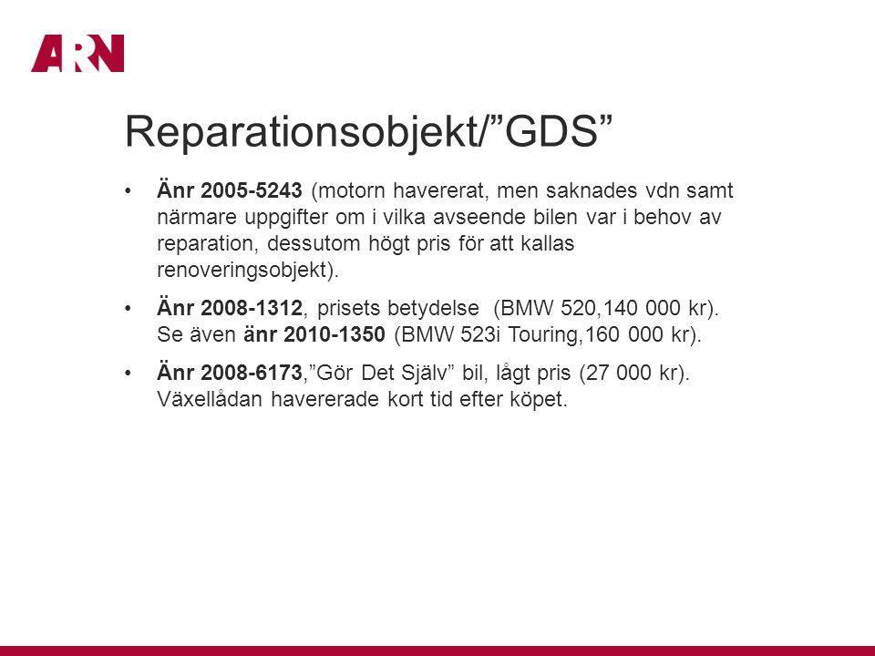 Reparationsobjekt/ GDS