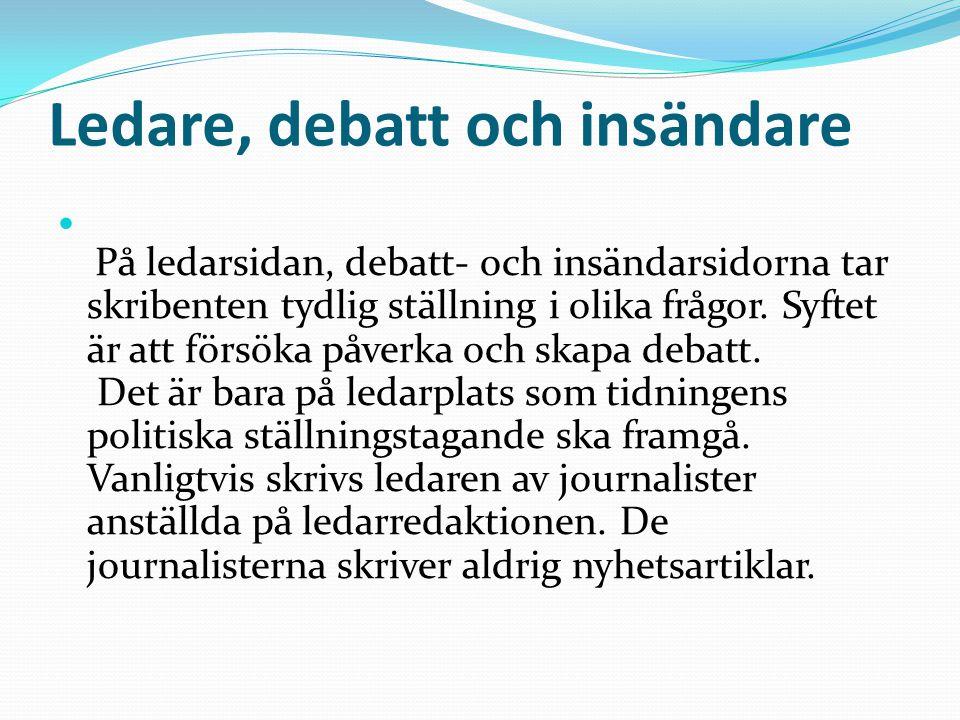 Ledare, debatt och insändare
