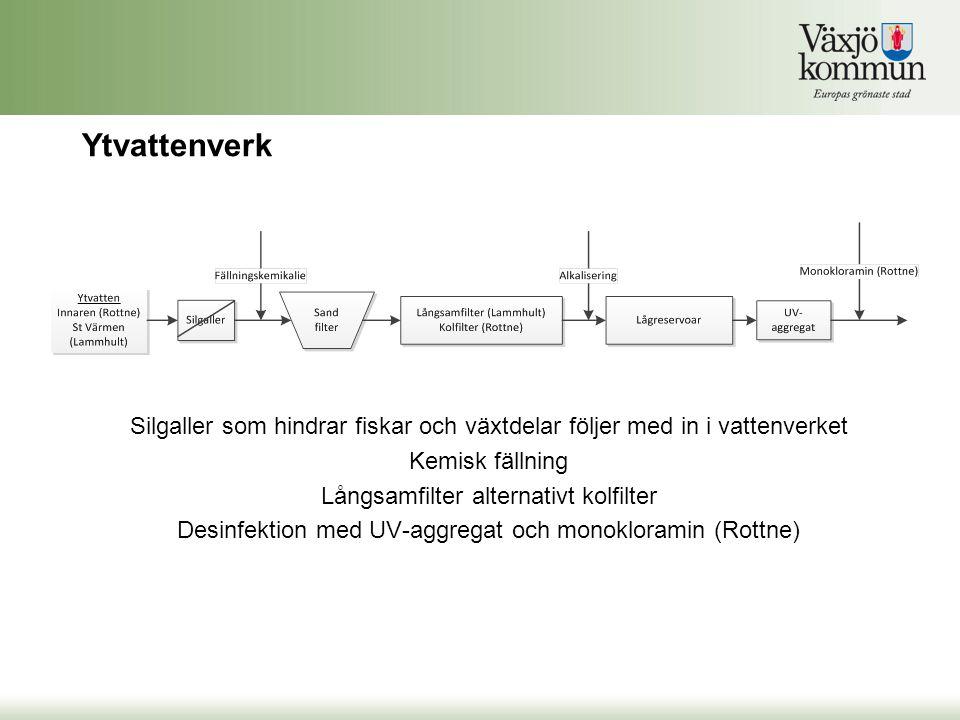 Ytvattenverk Silgaller som hindrar fiskar och växtdelar följer med in i vattenverket. Kemisk fällning.