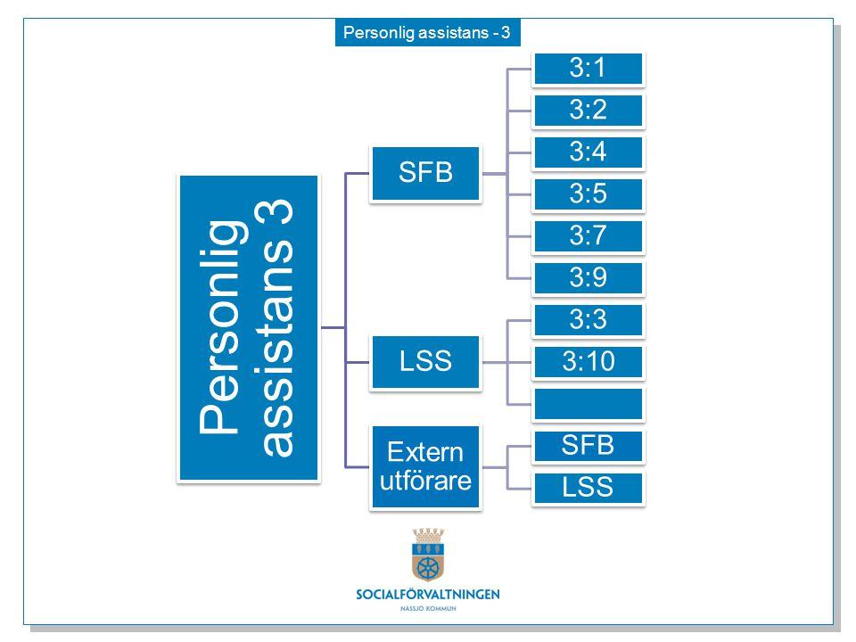 Personlig assistans 3 SFB LSS 3:1 3:2 3:4 3:5 3:7 3:9 3:3 3:10 3:11
