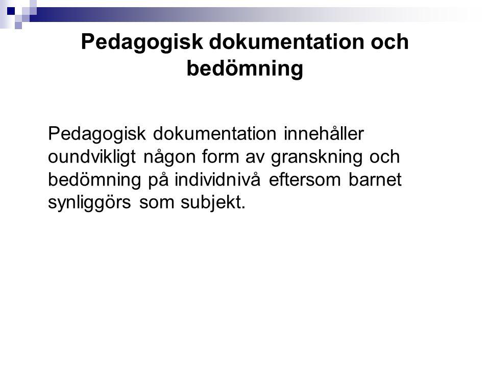 Pedagogisk dokumentation och bedömning
