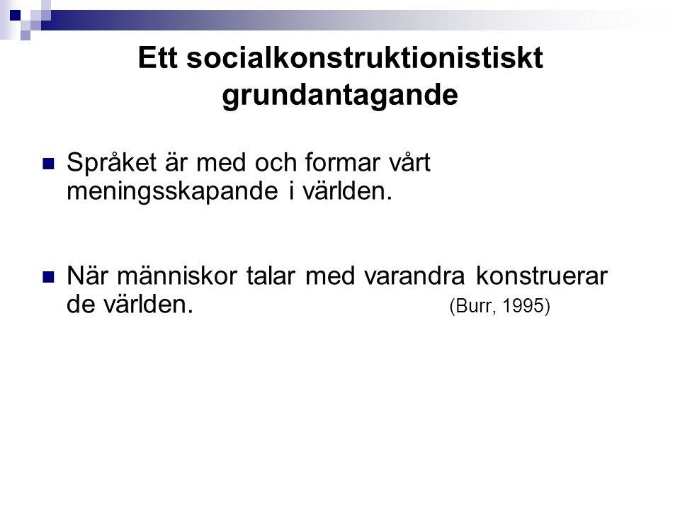 Ett socialkonstruktionistiskt grundantagande