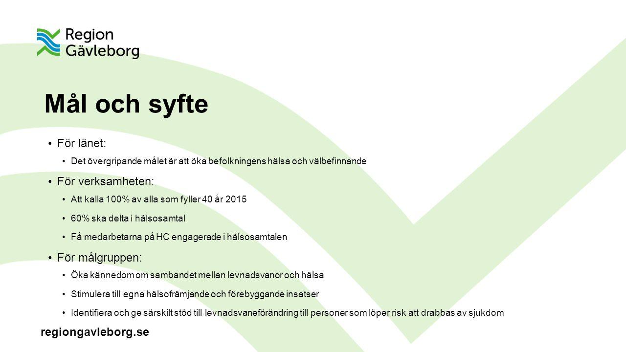 Mål och syfte För länet: För verksamheten: För målgruppen: