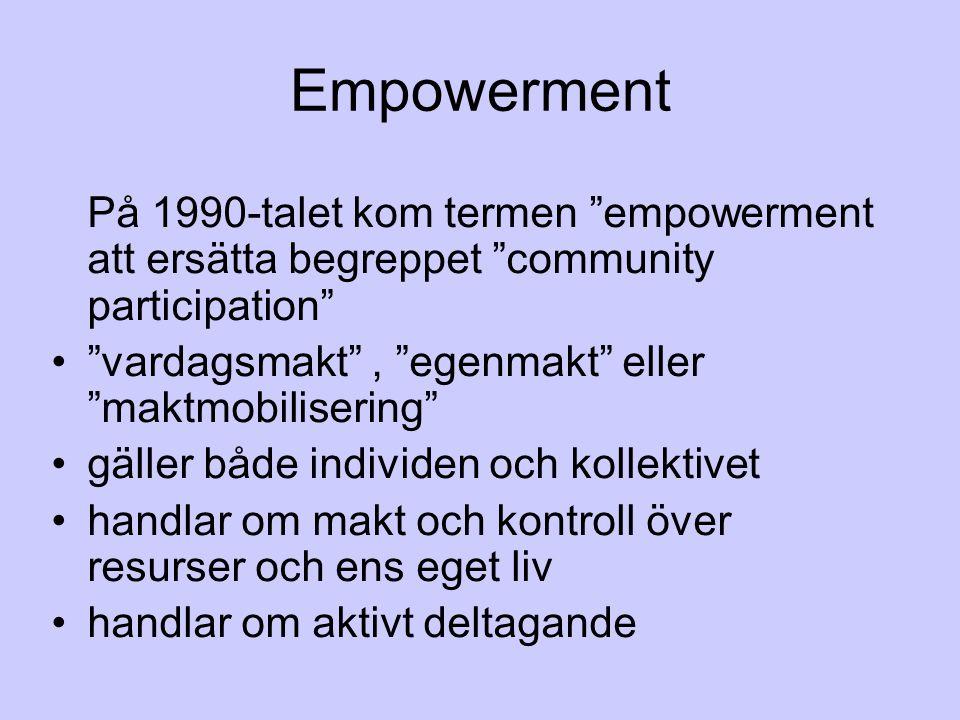 Empowerment På 1990-talet kom termen empowerment att ersätta begreppet community participation