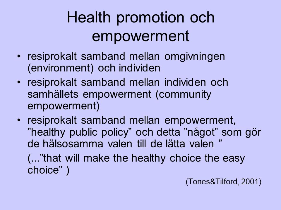 Health promotion och empowerment
