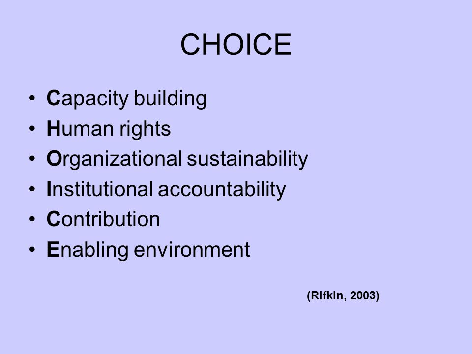 CHOICE Capacity building Human rights Organizational sustainability