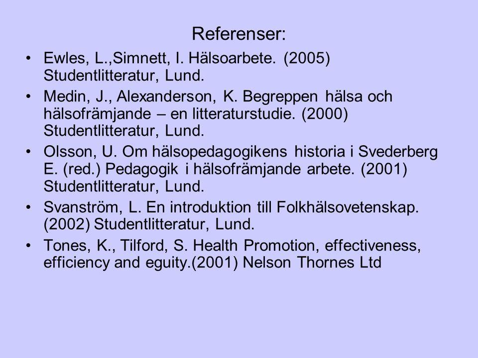 Referenser: Ewles, L.,Simnett, I. Hälsoarbete. (2005) Studentlitteratur, Lund.