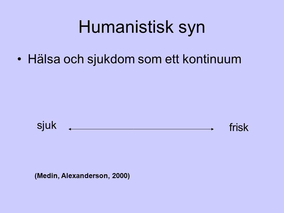 Humanistisk syn Hälsa och sjukdom som ett kontinuum sjuk frisk