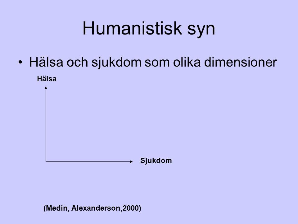 Humanistisk syn Hälsa och sjukdom som olika dimensioner Hälsa Sjukdom