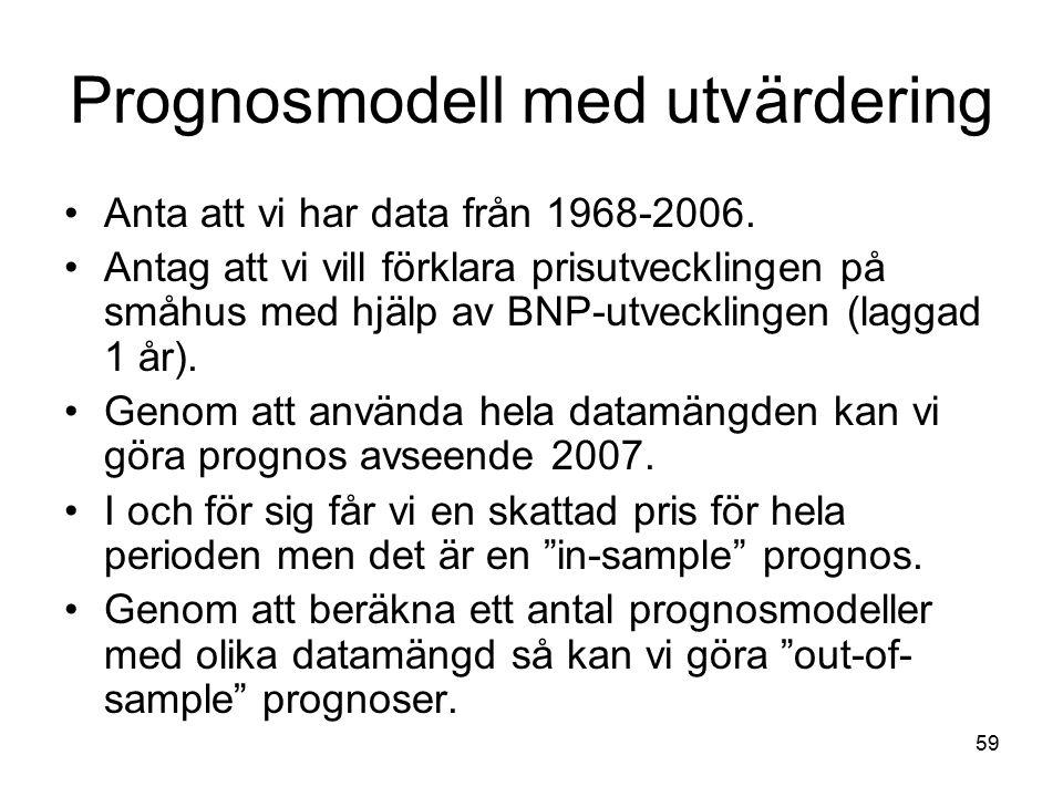 Prognosmodell med utvärdering