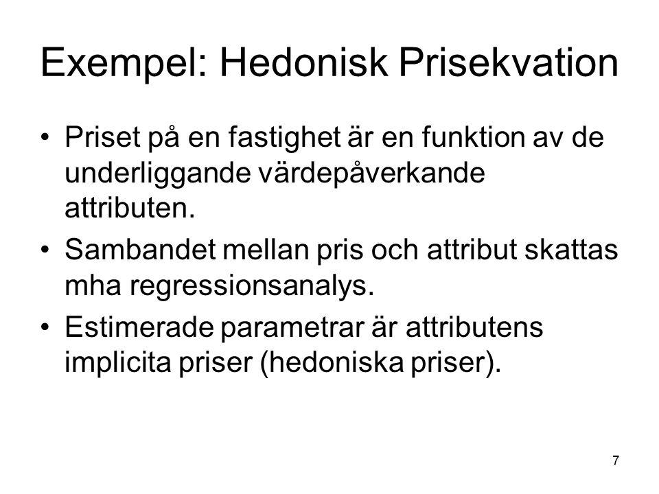 Exempel: Hedonisk Prisekvation