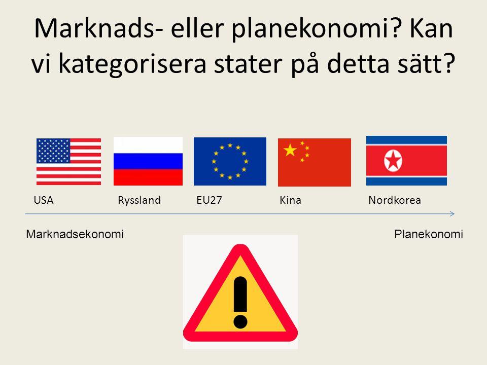 Marknads- eller planekonomi Kan vi kategorisera stater på detta sätt
