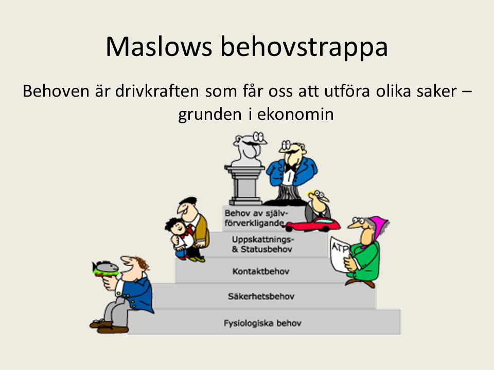 Maslows behovstrappa Behoven är drivkraften som får oss att utföra olika saker – grunden i ekonomin.