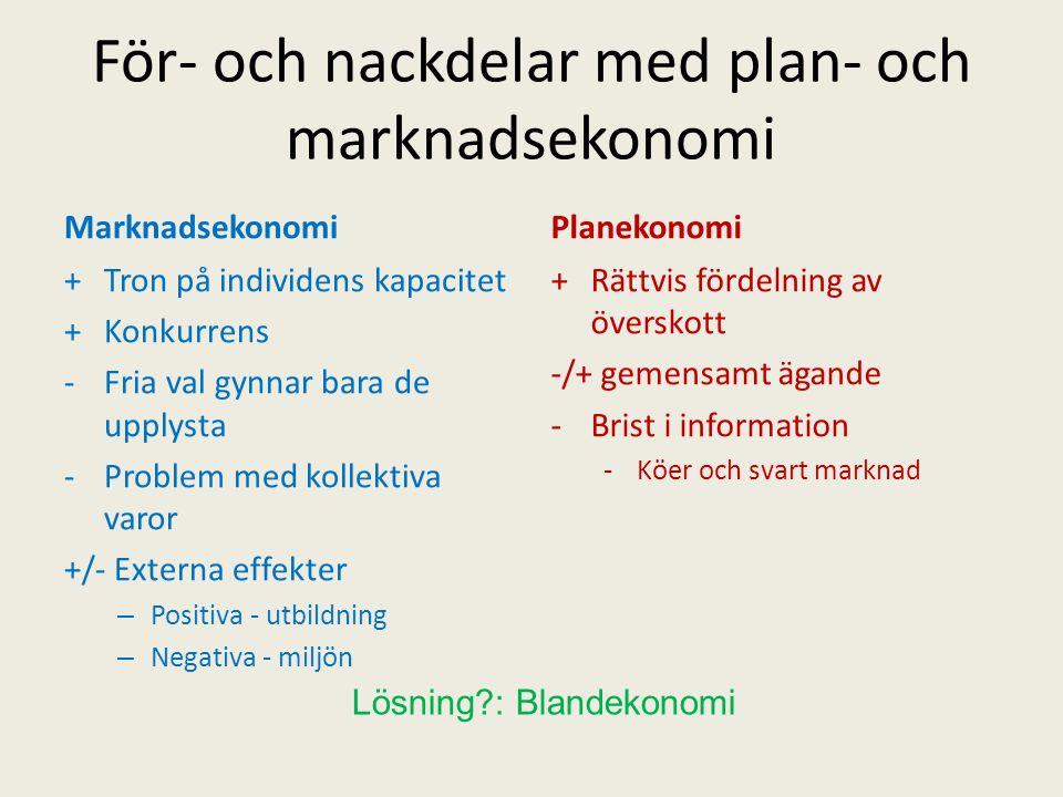 För- och nackdelar med plan- och marknadsekonomi