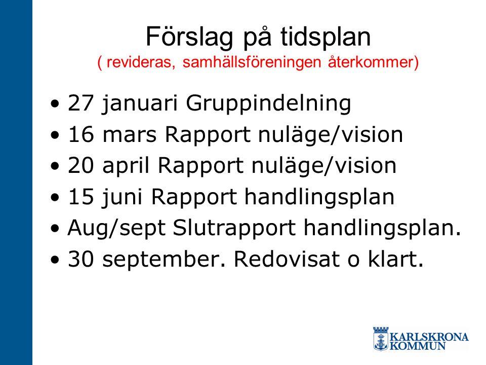 Förslag på tidsplan ( revideras, samhällsföreningen återkommer)