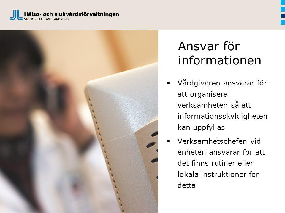 Ansvar för informationen