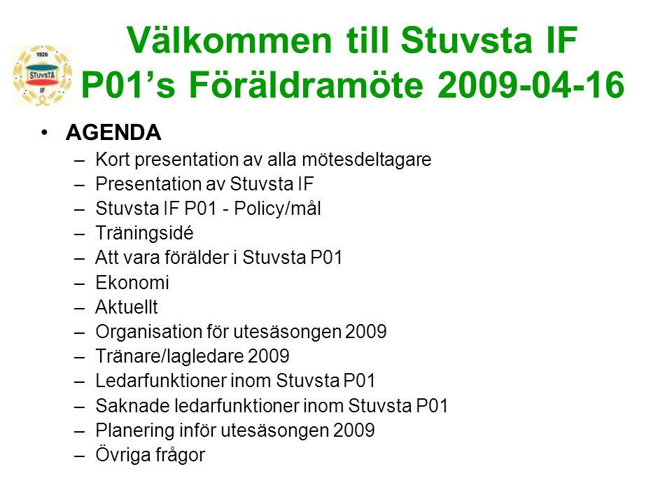 Välkommen till Stuvsta IF P01's Föräldramöte 2009-04-16