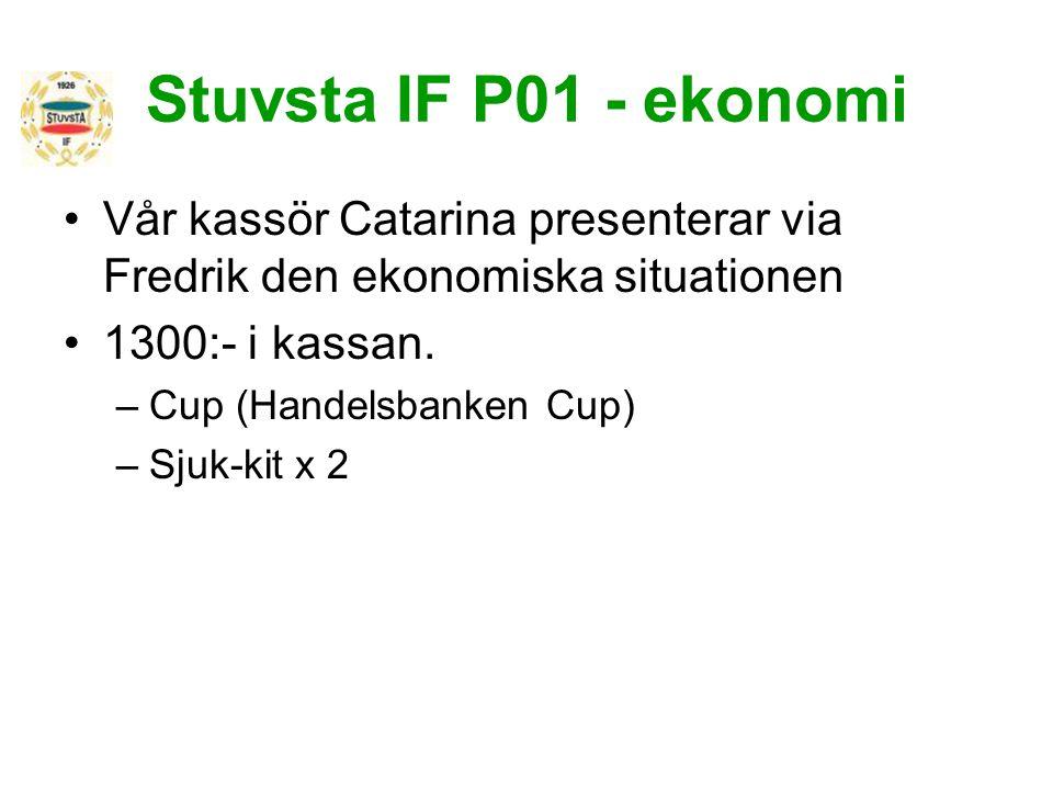 Stuvsta IF P01 - ekonomi Vår kassör Catarina presenterar via Fredrik den ekonomiska situationen. 1300:- i kassan.
