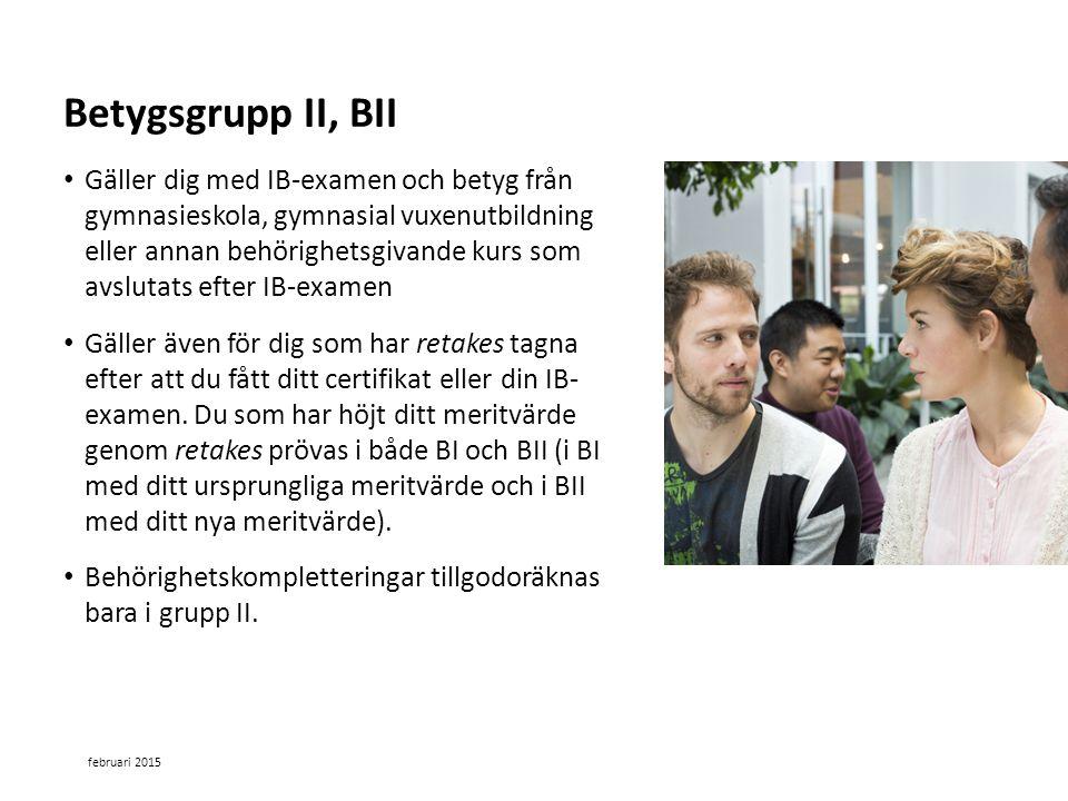 Betygsgrupp II, BII