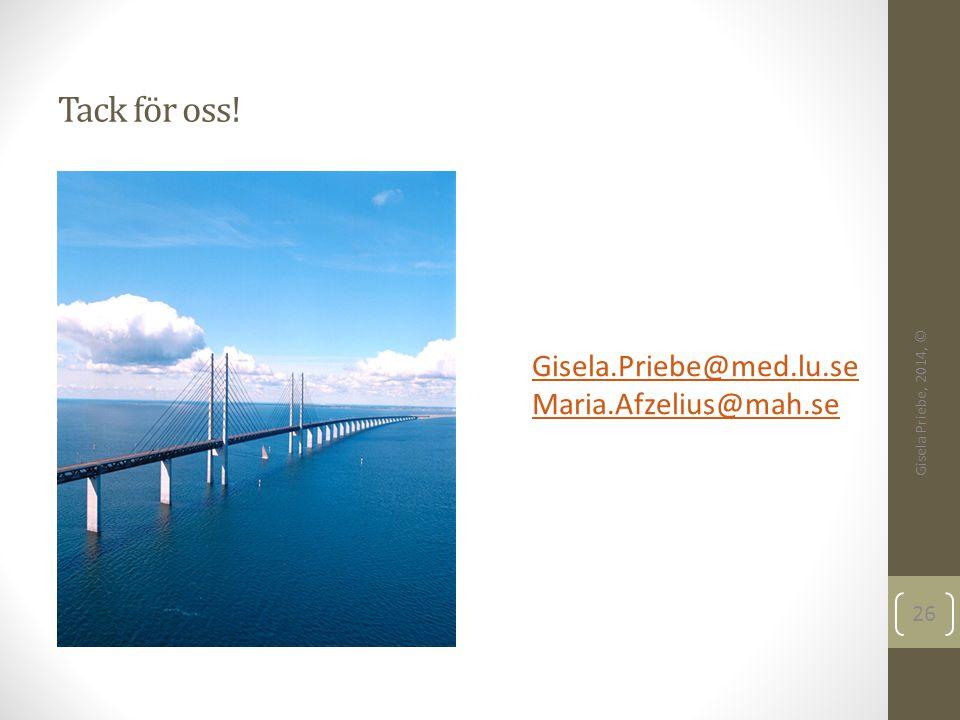 Tack för oss! Gisela.Priebe@med.lu.se Maria.Afzelius@mah.se