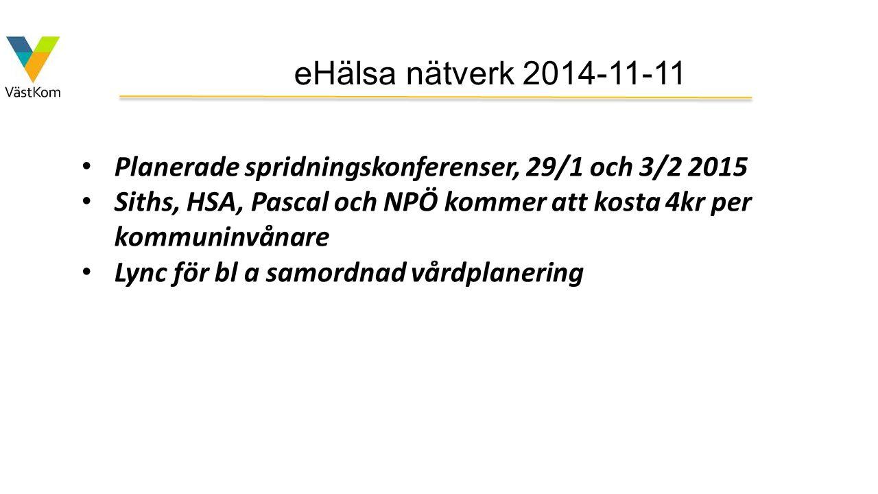 eHälsa nätverk 2014-11-11 Planerade spridningskonferenser, 29/1 och 3/2 2015. Siths, HSA, Pascal och NPÖ kommer att kosta 4kr per kommuninvånare.