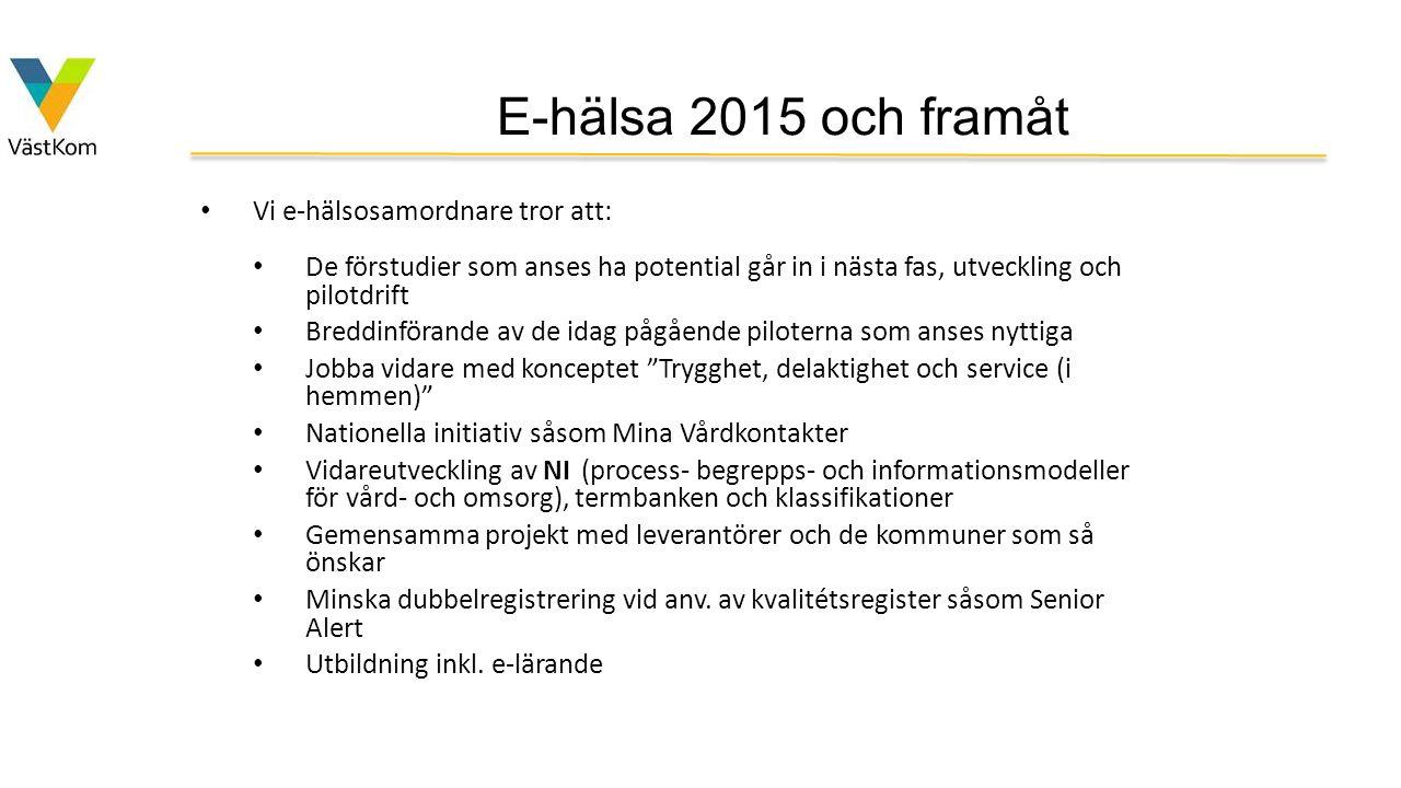 E-hälsa 2015 och framåt Vi e-hälsosamordnare tror att: