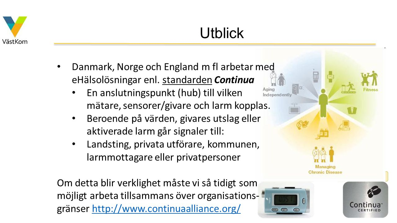 Utblick Danmark, Norge och England m fl arbetar med eHälsolösningar enl. standarden Continua.